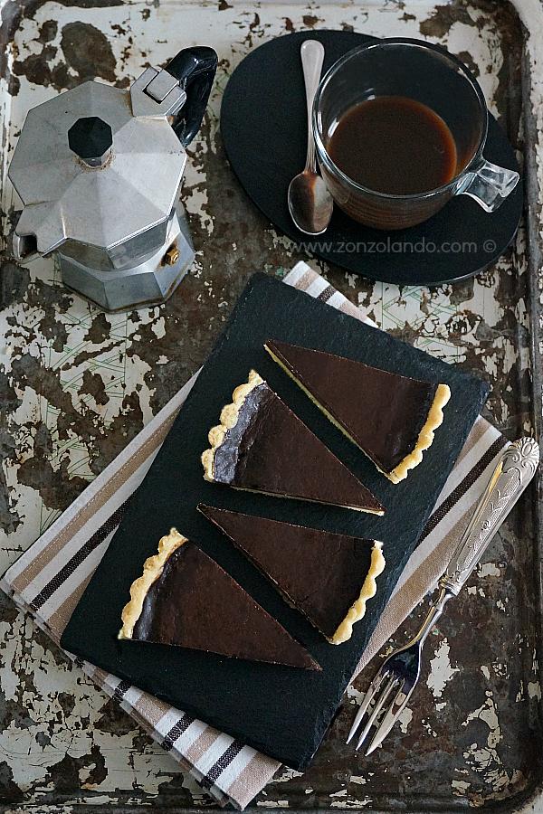 Crostata del ghiottone ricetta con cioccolato e caffè buonissima torta chocolate and coffee tart recipe