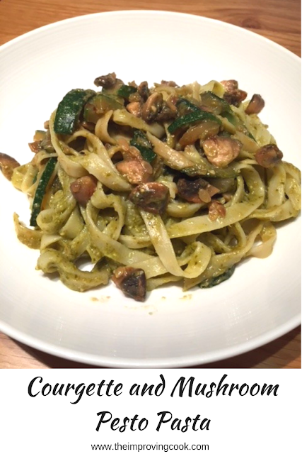 Courgette and Mushroom Pesto Pasta in a white bowl