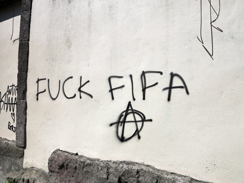 Anti-FIFA graffiti in Porto.