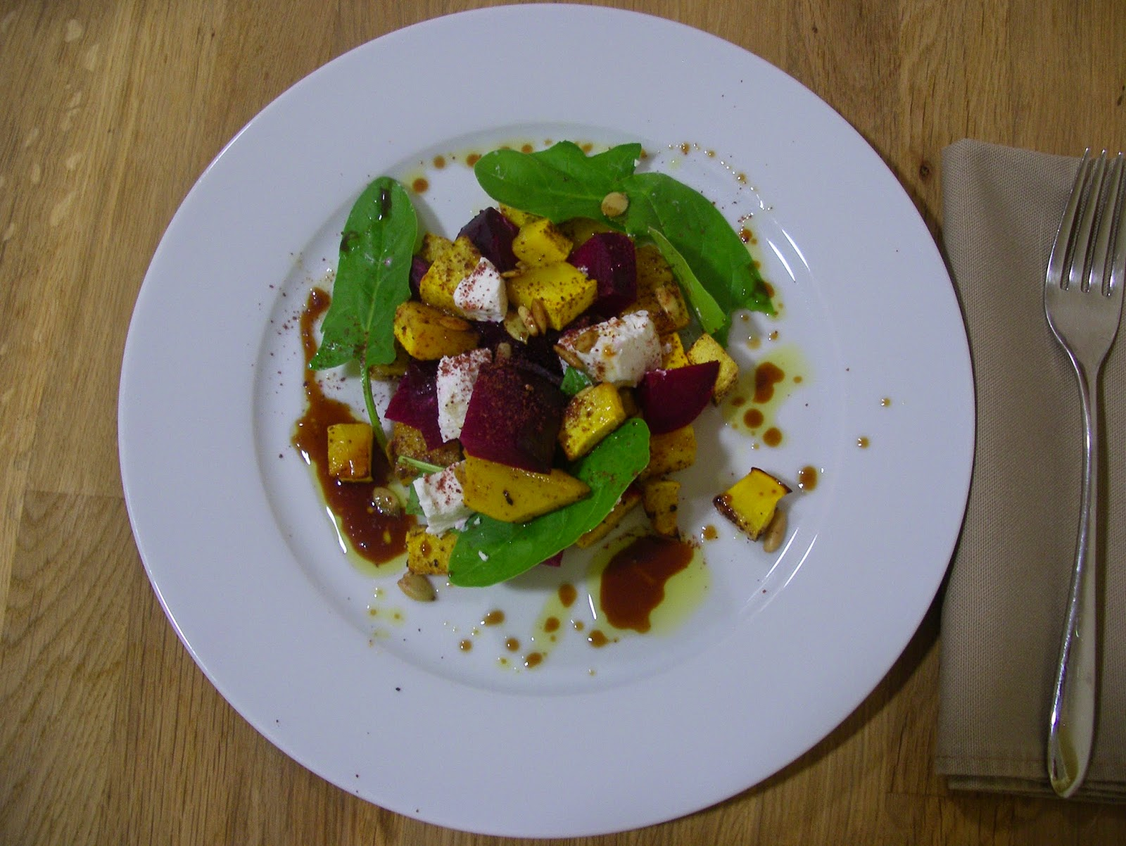 Pumpkin and beetroot salad with goat cheese