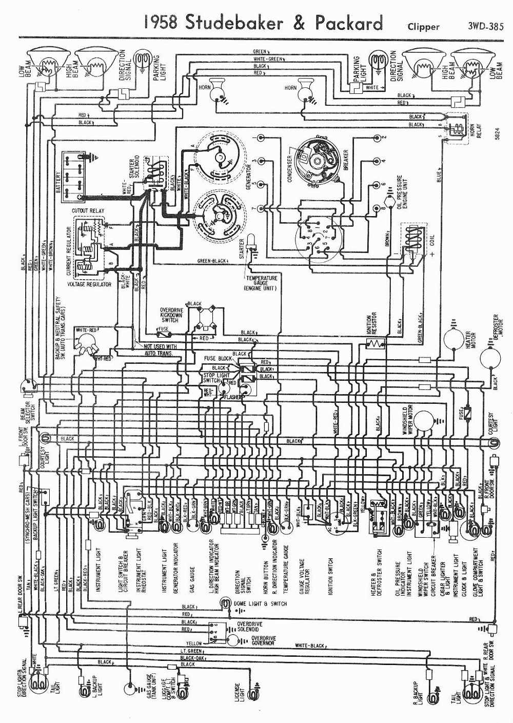 1958 Studebaker and Packard Clipper Wiring Diagram