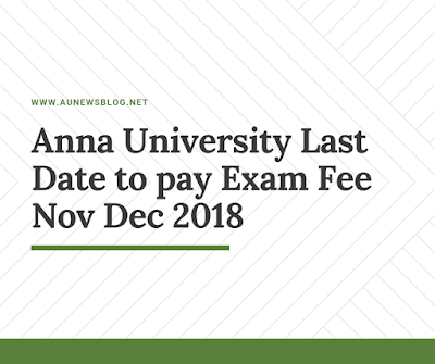 Anna University exam fees last date Nov Dec 2018