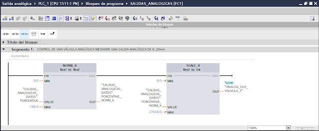Control de una salida analógica mediante las funciones NORM_X y SCALE_X TIA Portal V14