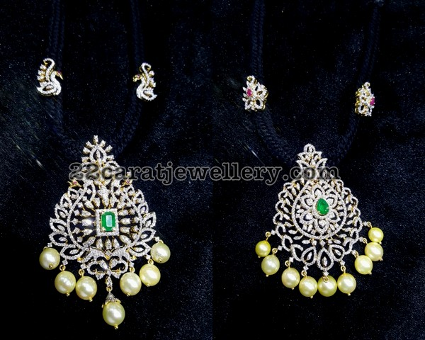 Black Thread with Diamond pendants