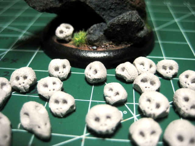 Epoxy Clay miniature skulls for basing photo