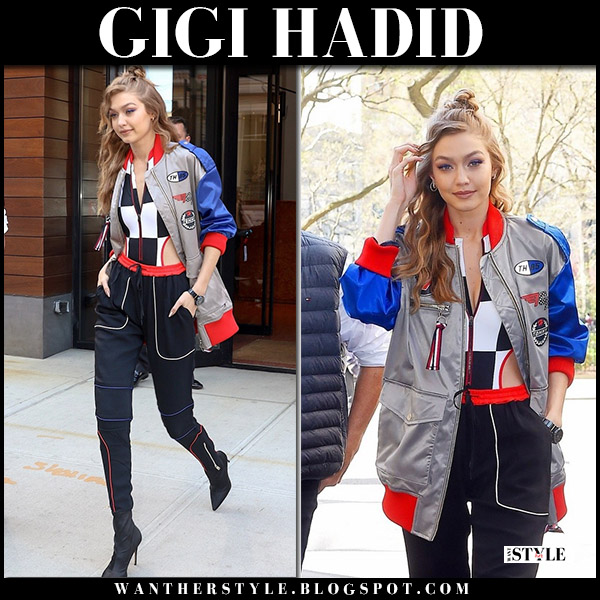 Gigi Hadid in silver oversized racer jacket and black pants tommy hilfiger model style april 26