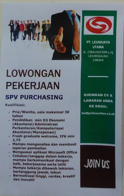 Lowongan SPV PURCHASING PT. Leuwijaya Utama