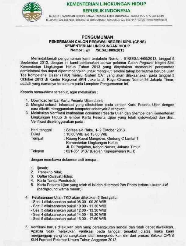Pengumuman Administrasi Februari 2013 Pengumuman Universitas Sriwijaya Indralaya Sumatera Hasil Seleksi Administrasi Kementerian Lingkungan Hidup Informasi