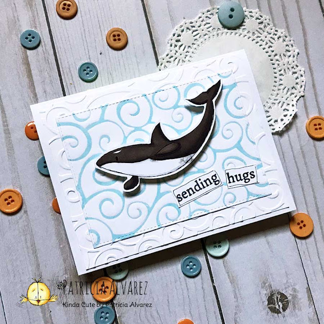 embossed card with an orca digital stamp