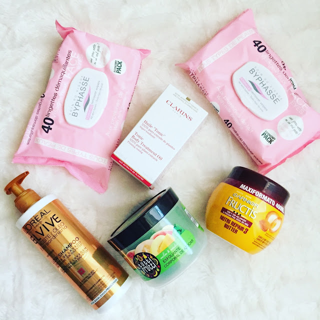Haul primor (huile tonic de clarins, low shampoo de loreal, body sugar scrub de farmona..)