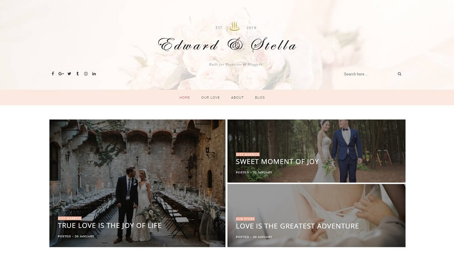 Edward & Stella - Clean Responsive Blogger Template