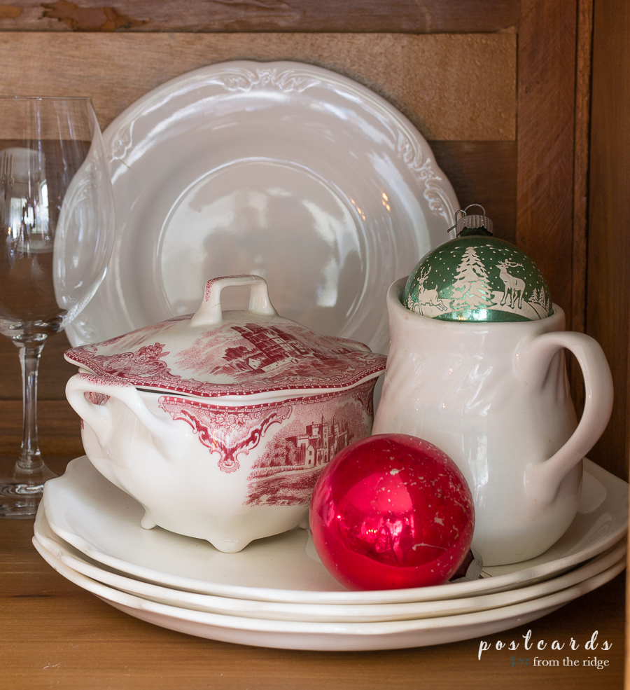 vintage ornaments and johnson brother's sugar bowl