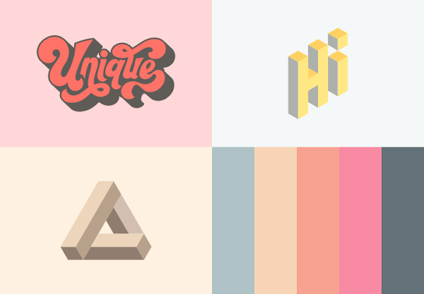 Lettering, Geometry Art And Colors Schemes