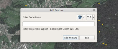QGIS Lat Lon Tools Add Features window