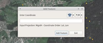 QGIS Lat Lon Tools Add Features window