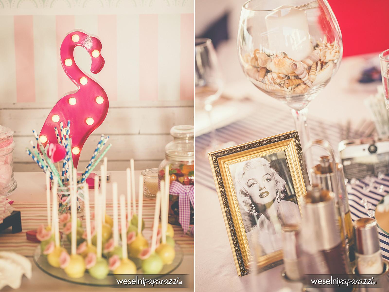 Ozdoby na stołach weselnych w stylu lat 50