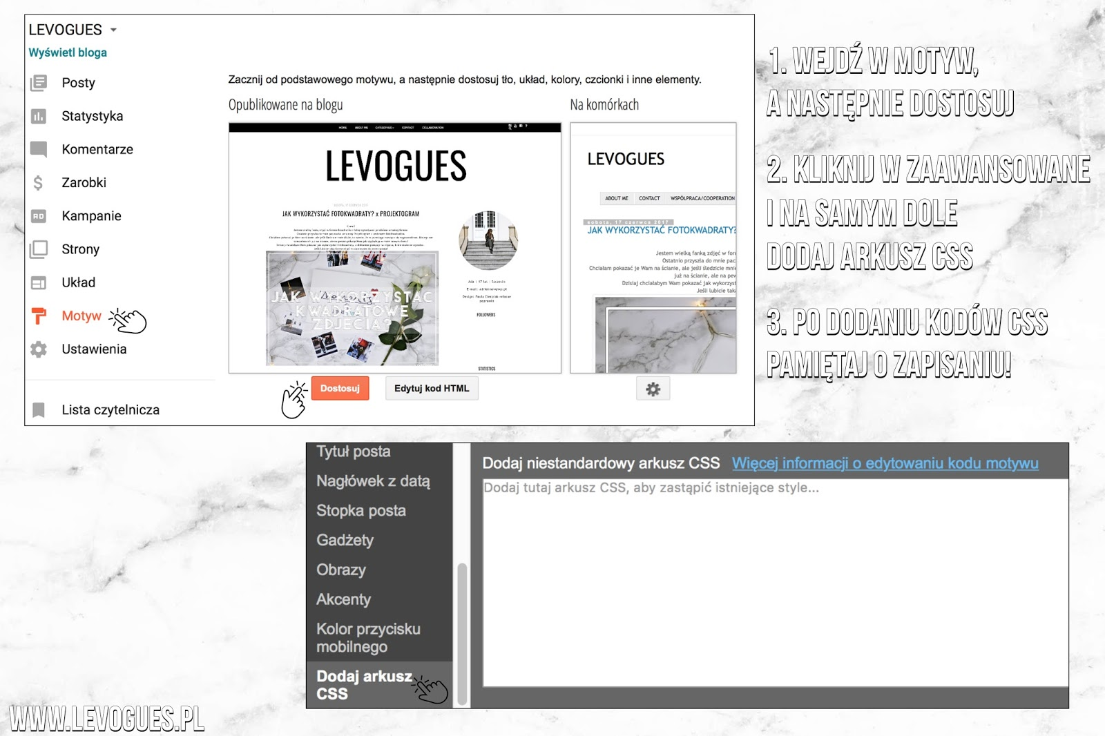 blogger design kody css triki html kod css szablon