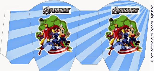 Cajas para Imprimir Gratis de  los Vengadores.