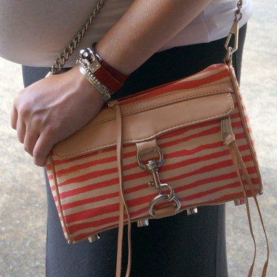 AwayFromTheBlue | Rebecca Minkoff striped coated canvas mini MAC in berry stripe