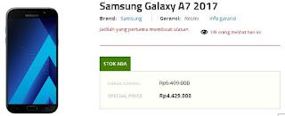 Harga Samsung Galaxy A7 (2017) terbaru di Indonesia sudah turun menjadi Rp 4.429.000 di Erafone (update Mei 2018)