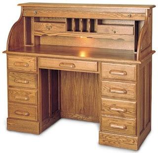 solid wood 7 drawer antique roll top desk value