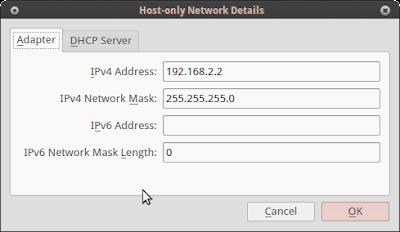 kita kasih dulu ip nya untuk client dengan cara klik setting pada interface vboxnet0 dan masukkan ipnya : 192.168.2.2/24