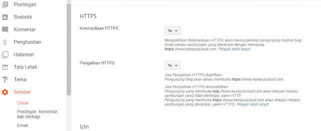 Cara mengaktifkan https di custom domain blog