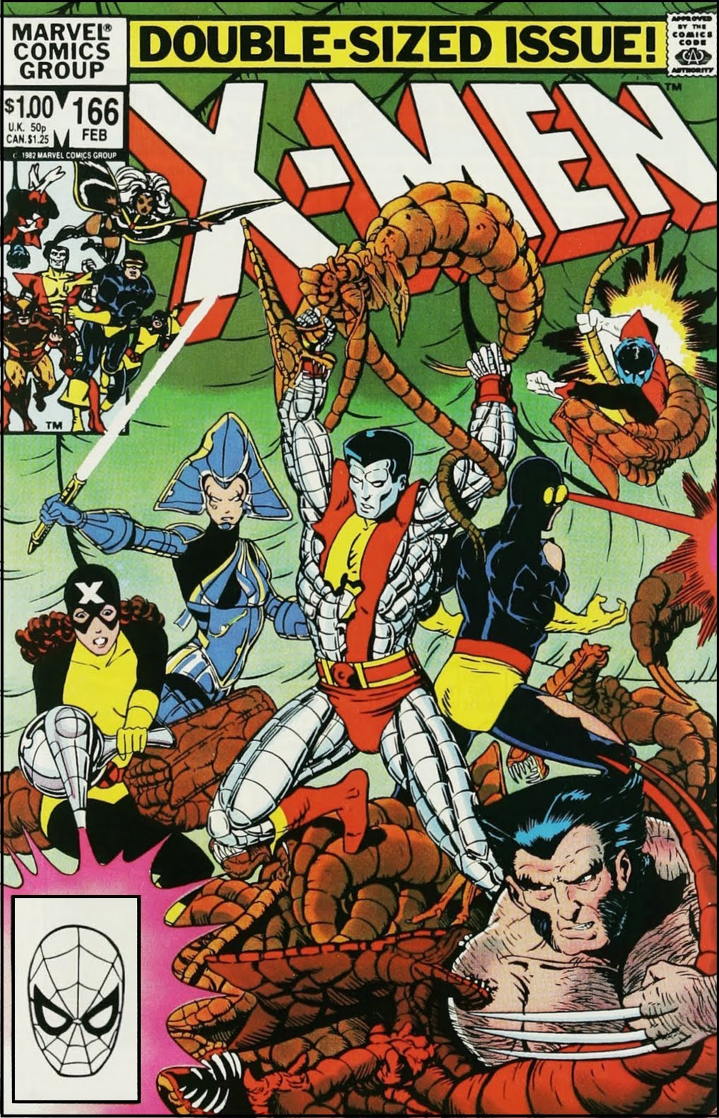 X-Men in fierce battle with aliens that resemble giant insects, arachnids, or crustaceans.