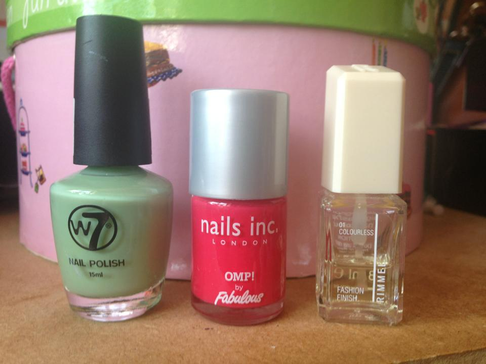 Nail Varnishes I used to create the feather effect nails