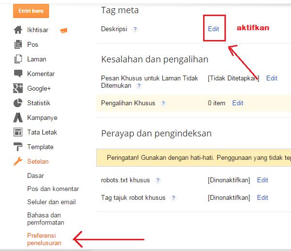 Cara Menambahkan Dekripsi di Blog