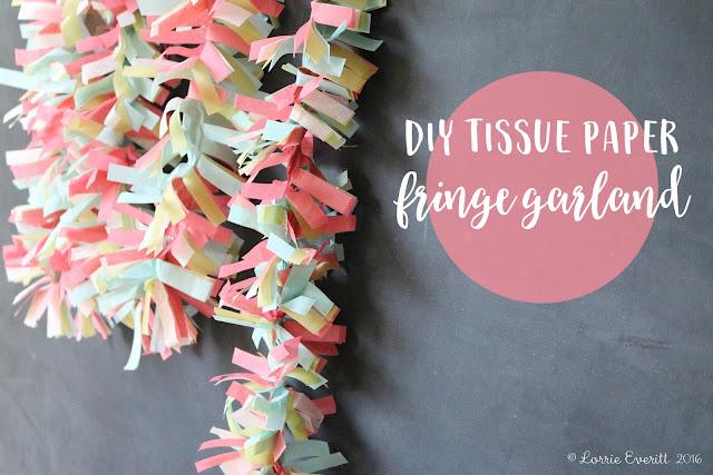 lorrie everitt studio diy tissue paper fringe garland. Black Bedroom Furniture Sets. Home Design Ideas