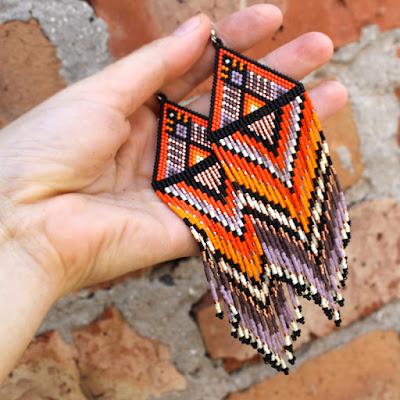 купить серьги из бисера большие яркие этнические серьги анабель