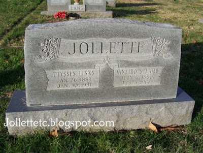 Tombstone Ulysses F. and Sadie Jollette Shenandoah, Virginia  https://jollettetc.blogspot.com