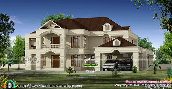 5 bedroom 441 square meter Colonial model Kerala home