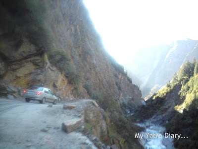 Damaged and dangerous landslide road conditions in the Garhwal Himalayas during the Char Dham Yatra