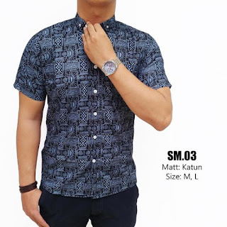 Model Baju Batik Cowok Kombinasi Kain Polos