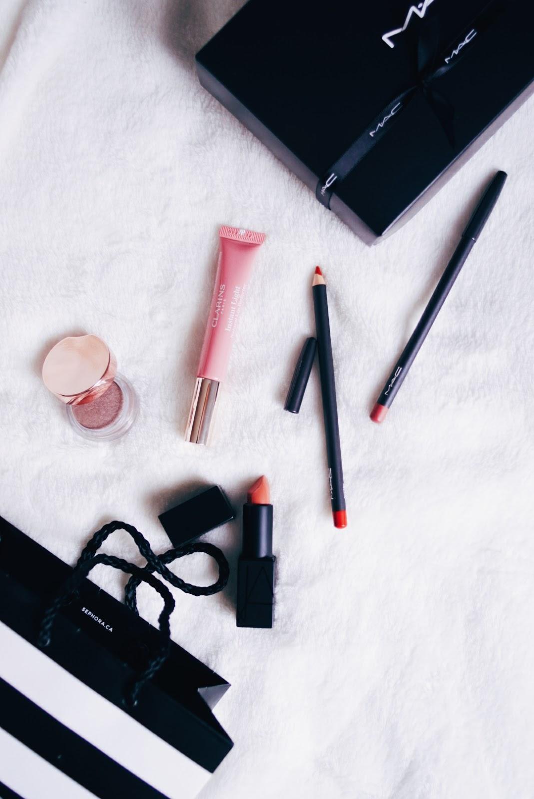 Clarins Spring 2016 Collection, Clarins Instant Light Natural Lip Perfector, MAC Lip Pencils, MAC Soar, MAC Cherry, NARS Audacious Lipstick, NARS Barbara