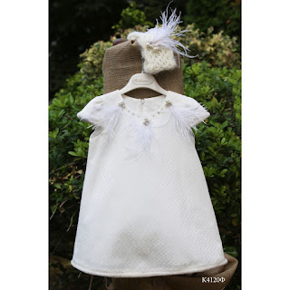 baptismal dress with feathers