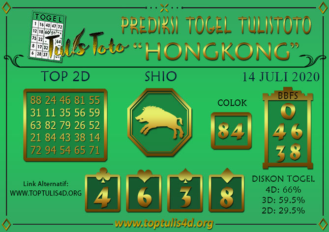 Prediksi Togel HONGKONG TULISTOTO 14 JULI 2020