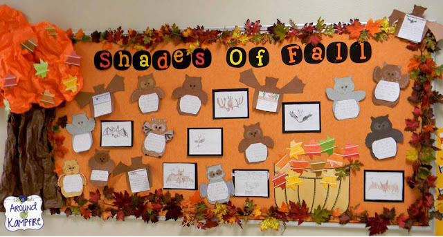 Fall bulletin board with owl reports, and shades of meaning leaves on paint cards.