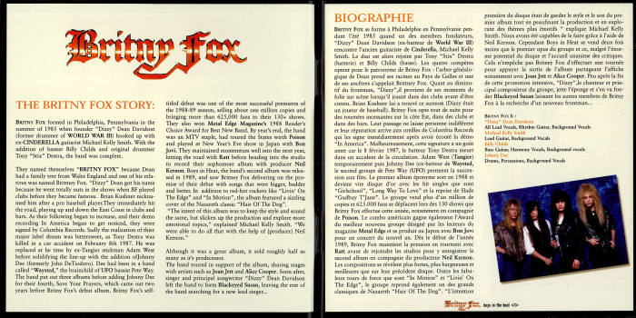 BRITNY FOX - Boys In Heat [Bad Reputation digitally remastered +3] booklet
