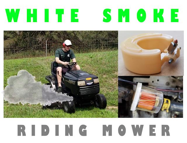 smoke from riding mower, white smoke