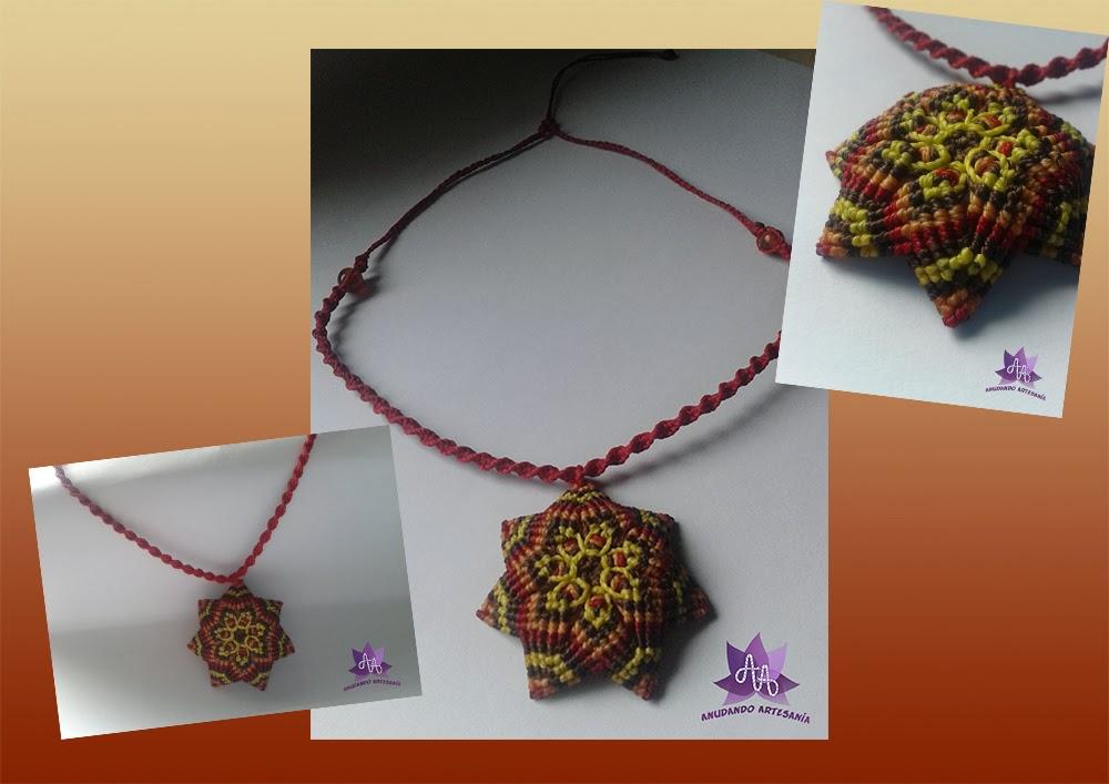 adf399d60143 Anudando Artesanía  Collar flos mandala y pendientes de gota con ...