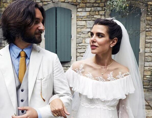Charlotte Casiraghi wore a bridal dress by Italian fashion designer Giambattista Valli. Princess Caroline, Princess Alexandra, Carole Bouquet