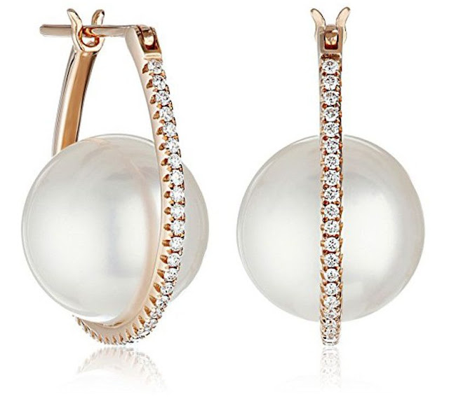 Yellow Gold Pearl Diamond Earrings