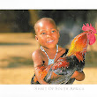 A child with a rooster