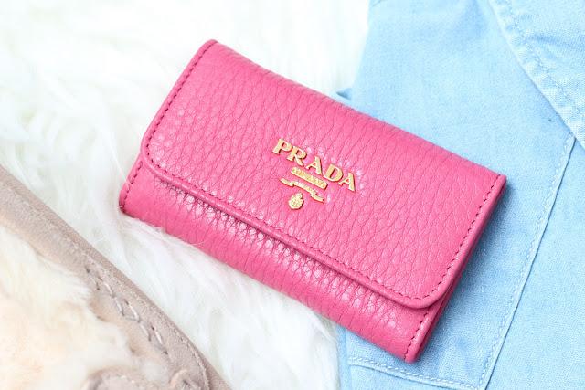 Prada key holder in Peony Pink
