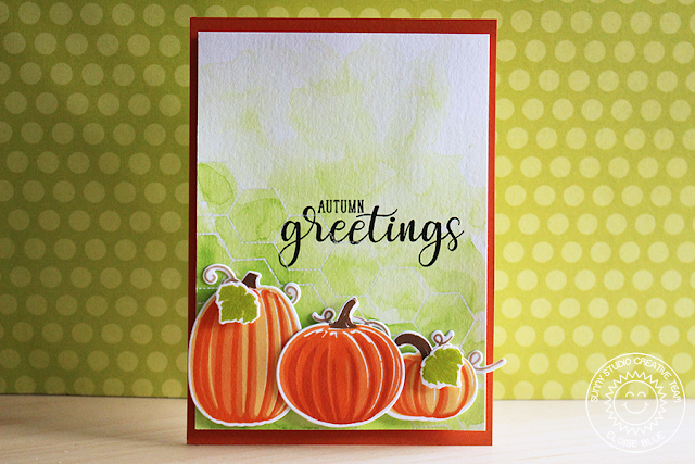 Sunny Studio Stamps: Autumn Greetings Layered Pumpkins Card by Eloise Blue