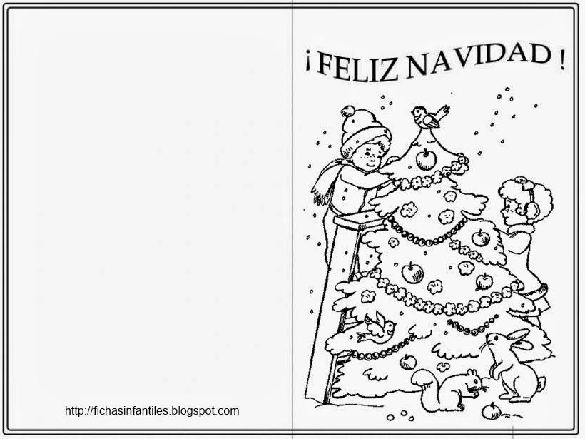 Imagenes De Tarjetas De Navidad Para Colorear