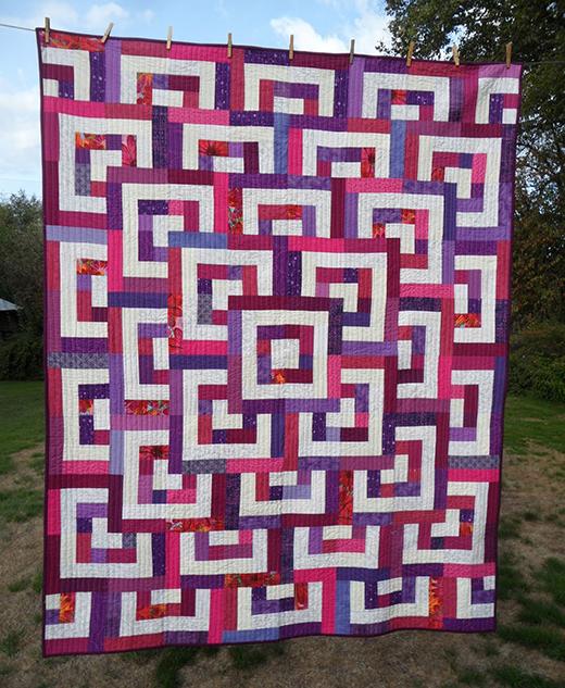 Quarter Log Cabin Quilt Free Pattern designed by Liz Katsuro of  Jellyrollfabric.net